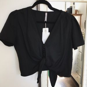 Zara Button Tie Crop Top
